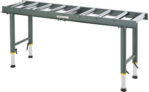 roller table shop fox d2271 heavy duty 9 roller table infeed outfeed