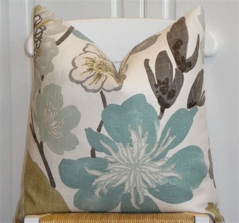 Aqua And Brown Throw Pillows Decorative Pillow Cover 22 X 22 Throw Pillow Accent