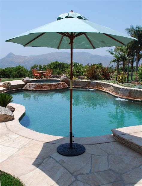 large backyard umbrella 7 5 ft wood market umbrella made in the shade by galtech