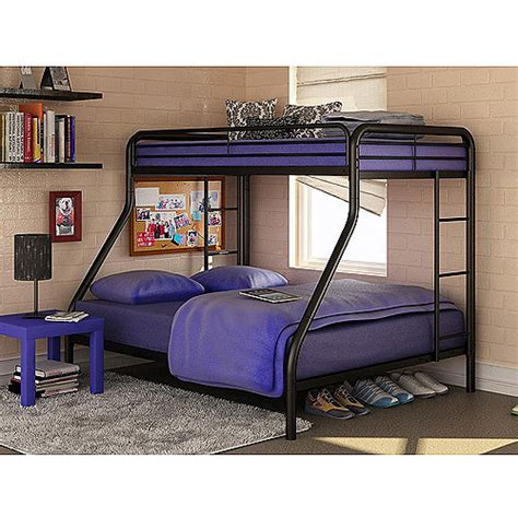 dorel twin over full black metal bunk bed with set of 2 mattresses walmart com