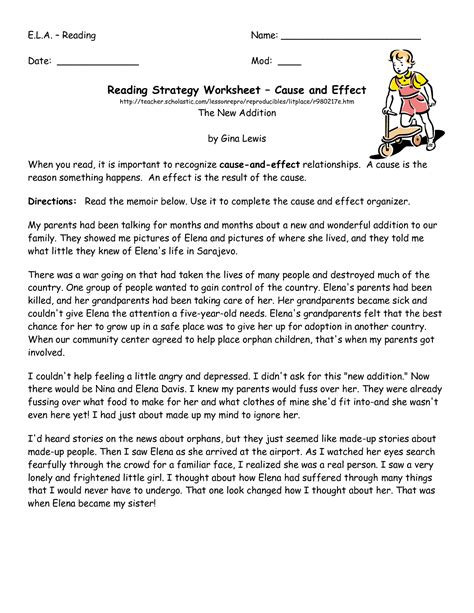 Cause And Effect Worksheets For Middle School by 11 Best Images Of Reading Strategy Worksheet Middle School
