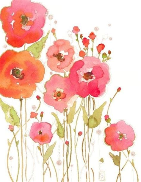 watercolor poppies love the colors and the loose