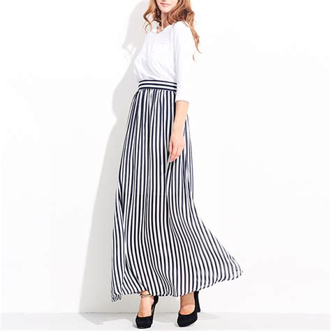 2017 skirt style high waist plus size striped chiffon maxi skirts floor