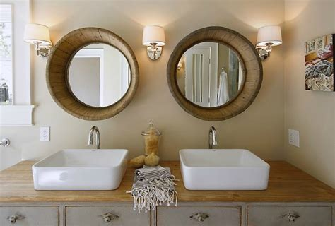 Cottage Bathroom Mirror Wood Barrel Mirrors Cottage Bathroom Maeve S Way