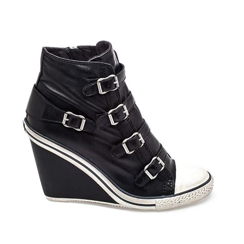 wedge sneakers ash thelma wedge sneaker black leather 330149 ash