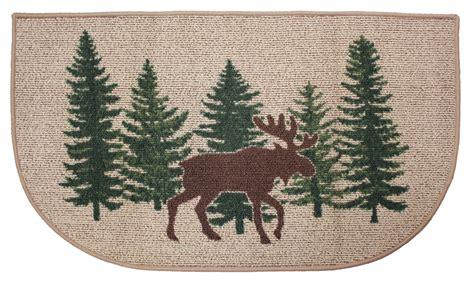 moose rug moose hearth rug lodge log cabin pine tree fireplace scarbrough faire