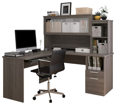 Modern Desk Hutch Bestar Modern Bark Gray L Shaped Desk And Hutch With Frosted Glass Doors Desks And Hutches Houzz