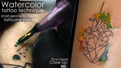 watercolor tattoo technique small geometric heart
