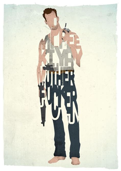 movie quotes yippee ki yay john mcclane typography print based on a quote from the