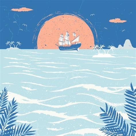 boat drawing sea ocean drawing sailboat sea sun icons retro design free