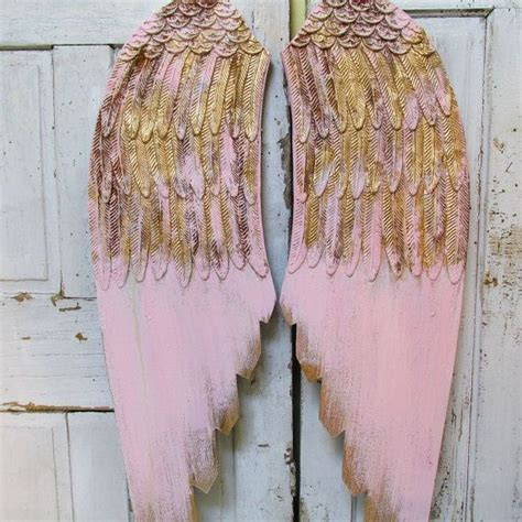 pink angel wings wall hanging accented gold shabby cottage
