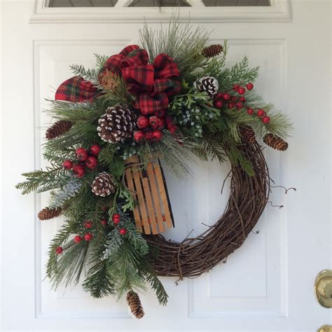 holiday wreath holiday wreath winter wreath christmas wreath wooden sleigh
