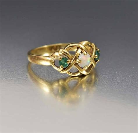 deco opal engagement rings gold celtic knot opal emerald engagement ring