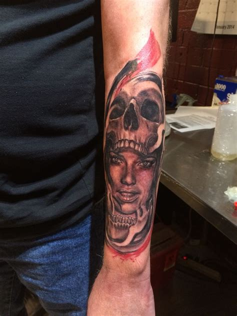 tucson tattoo in a skull trash polka tat artist anthony