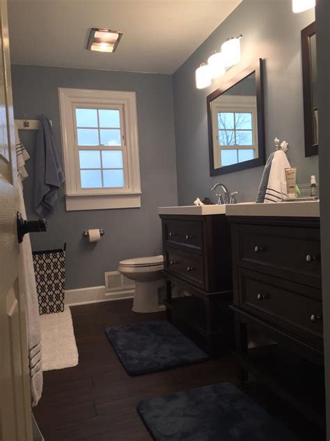 dark paint in bathroom love these blue gray walls paint color wall ovation by
