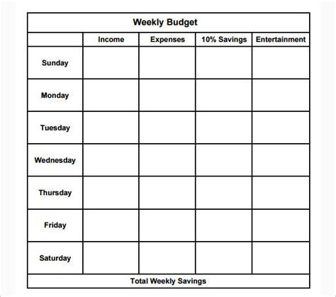 weekly budget template 17 simple weekly budget templates free excel word pdf