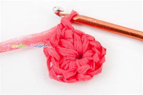 fiori all uncinetto con fettuccia fiori ad uncinetto per cestino portagioie parte 3