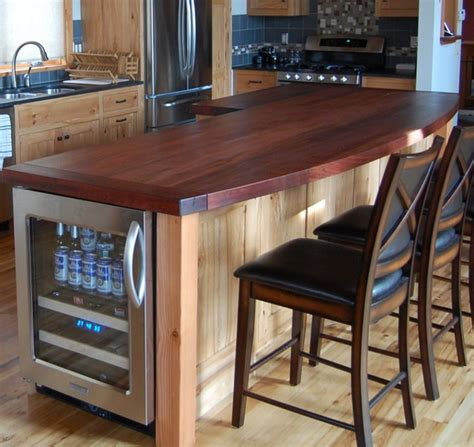 reclaimed hickory island with wood top kitchen new