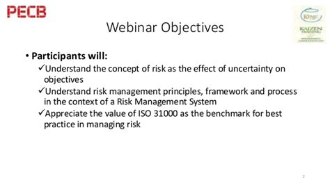 The Risks Of A One Year Mba by Pecb Webinar Iso 31000 The Benchmark For Risk
