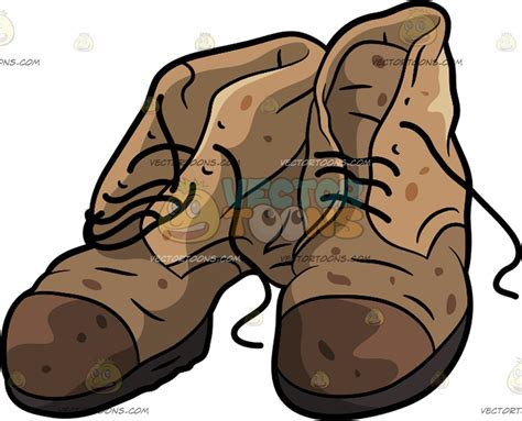 cartoon old boats a pair of old dress boots vector toons