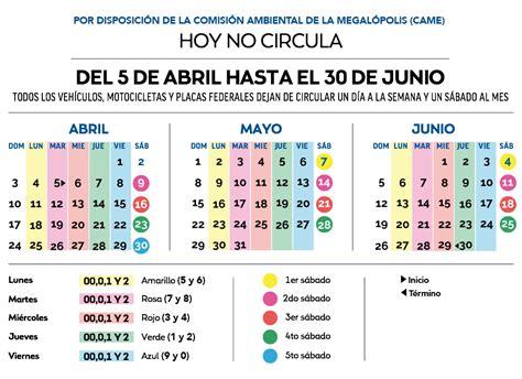 calendario del hoy no circula fase 1 calendario de doble contingencia c 243 mo funcionar 225 el