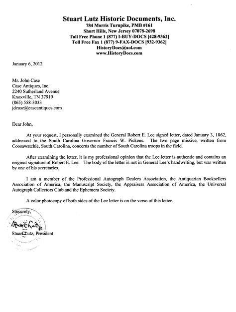 usda certification letter lot 70 1862 robert e war signed letter