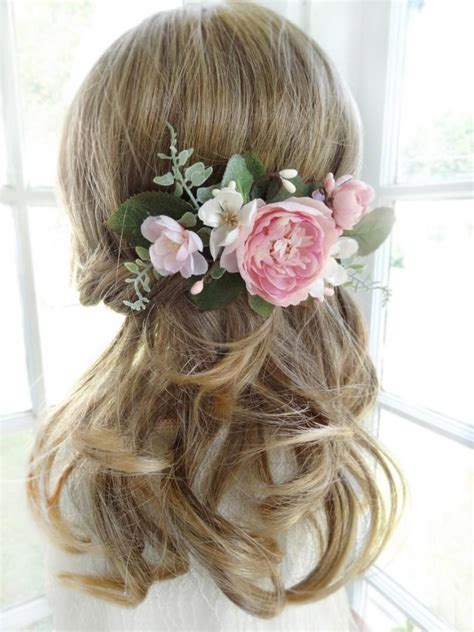 Wedding Hairstyles With Real Flowers by Bridal Hair Comb Pink Flower Hair Clip Wedding Headpiece