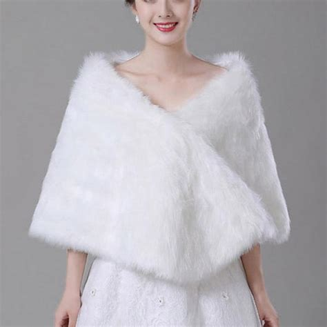 simple fur ivory white faux fur wedding bridal shrugs wraps bolero