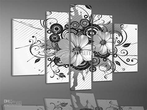 Retro Home Decor Wholesale framed 5 panels high end black and white wall decor flower