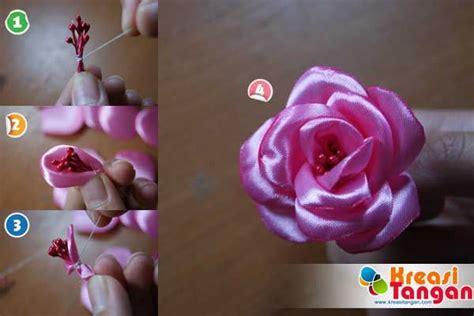 tutorial buket bunga satin tutorial cara membuat bunga mawar dari pita proyek untuk