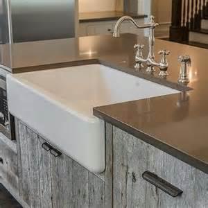 Kitchen Barn Sink Gray Reclaimed Wood Kitchen Island With Farmhouse Sink Cottage Kitchen