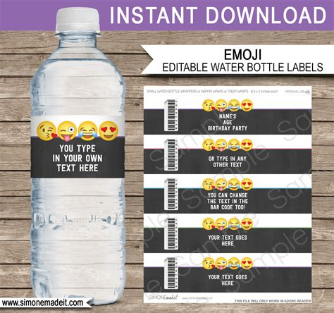 Emoji Theme Birthday Party Printables Emoji Party Templates Small Water Bottle Label Template