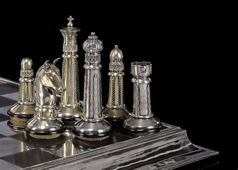 art deco chess set an art deco german silver and silver gilt chess set and
