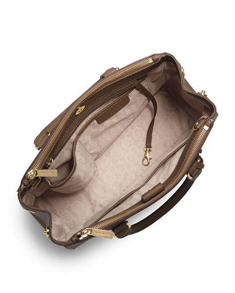 Michael Kors Sutton Top Handle Bag by Lyst Michael Michael Kors Sutton Medium Satchel Bag In Brown