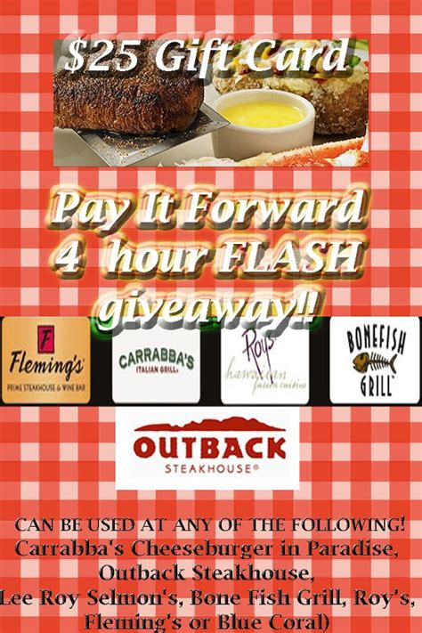 Carrabbas Gift Card - pay it forward 4 hour flash giveaway win a 25 carrabba s gift card can also be