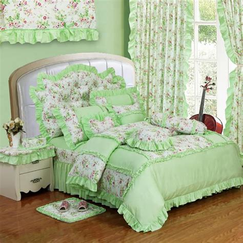 4 green ruffle comforter set in size new green cotton princess style bedding set 4pcs lace ruffles duvet cover bedspread bed skirt