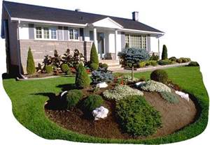 Front Yard Landscaping Plans Designs - garden island for front yard i also like the small border shrubs lining the house