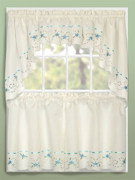 Kitchen Curtains Blue Rachael Ribbon Embroidery Cafe Curtains Blue United Curtains Country Kitchen Curtains