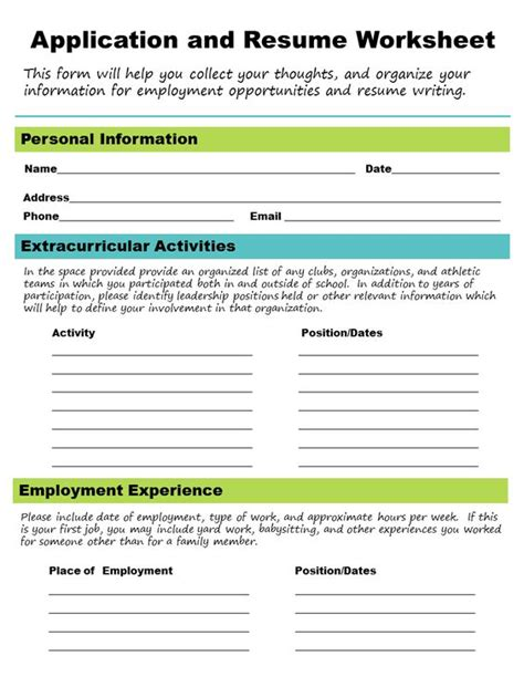 Resume Application Worksheet The World S Catalog Of Ideas