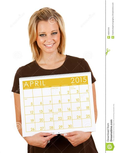 Calendar Holdings 2015 Calendar Holding Blank April Calendar Stock Photo