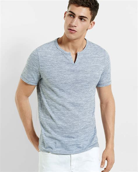 Notch Neck T Shirt marled notch neck t shirt