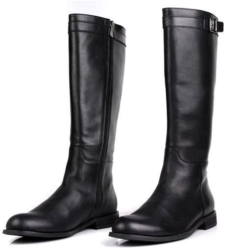mens leather knee high boots large size slim zipper knee high mens boots genuine