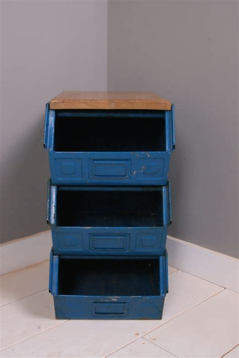 metal crate children s metal crate storage unit with wooden top blue ticking