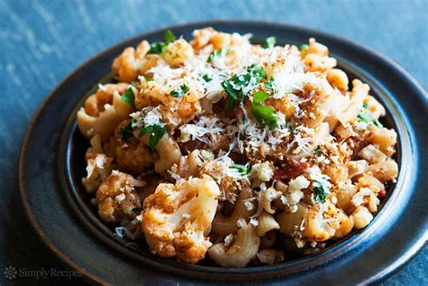 recipes with pasta pasta with cauliflower tomato and parmesan recipe