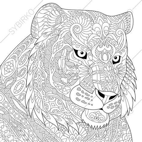 intricate tiger coloring pages adult coloring page tiger zentangle doodle coloring book