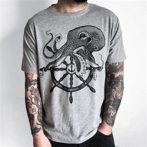 tattoo t shirts for men octopus shirt and ship wheel on