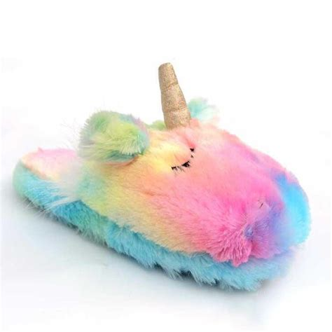 Sandal Bulu Rainbow Fur Unicorn plush sleepy unicorn slippers apollobox