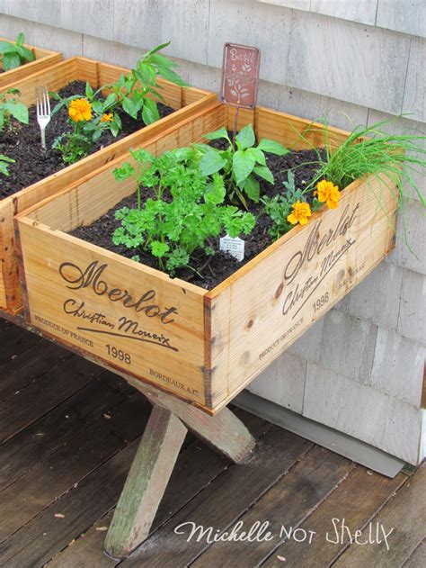 diy herb garden box diy herb garden using wine boxes projects to try