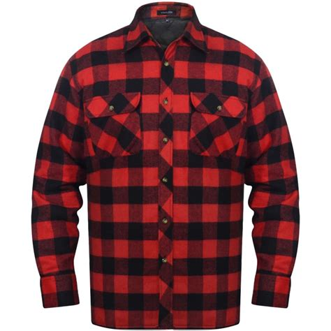 plaid mit ärmeln vidaxl co uk s padded plaid flannel work shirt