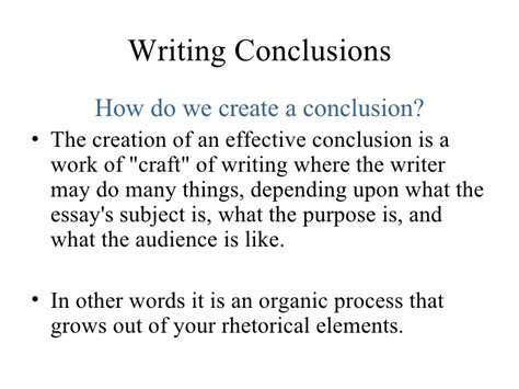what should be in the conclusion of a research paper lesson five conclusions